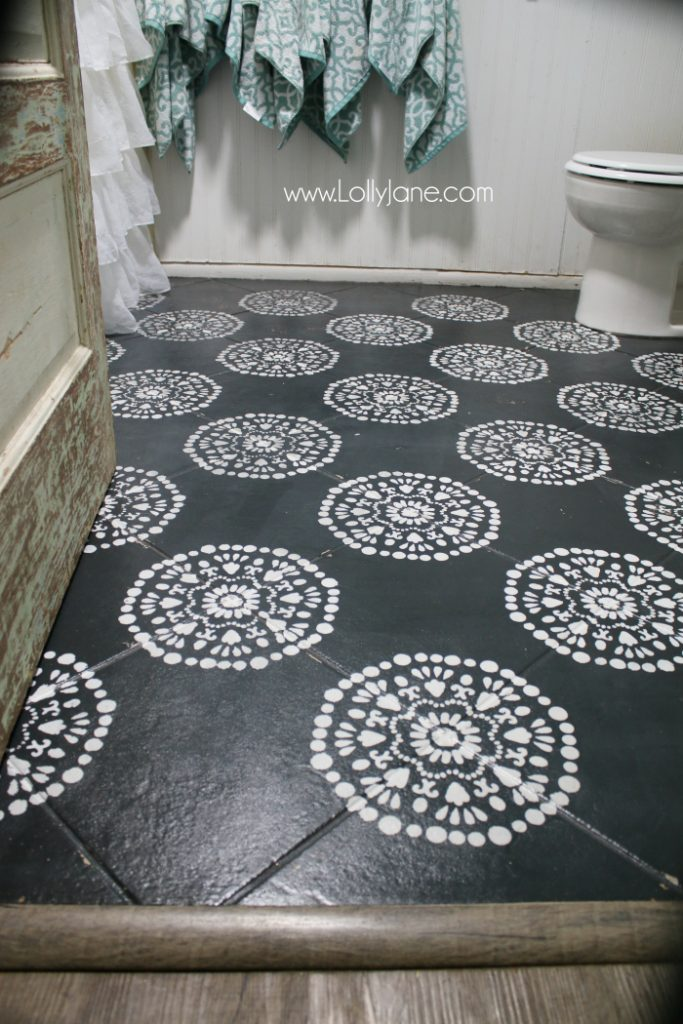 super affordable bathroom floor makeover solution how to chalk paint tile floors so glad - Images Of Bathroom Floors