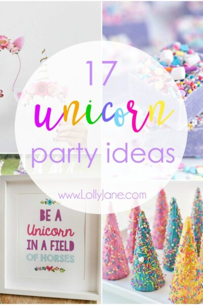 Throw the ultimate unicorn party! Treats to games to decor, we have 17 awesome unicorn party ideas. Click for 16 more great ideas!
