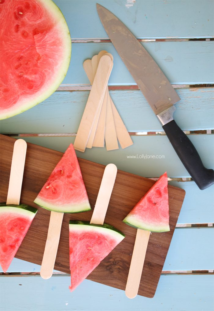 Easy BBQ Hack: Slice watermelon in triangles + slide large craft stick for easy grabbing! Kids love it!