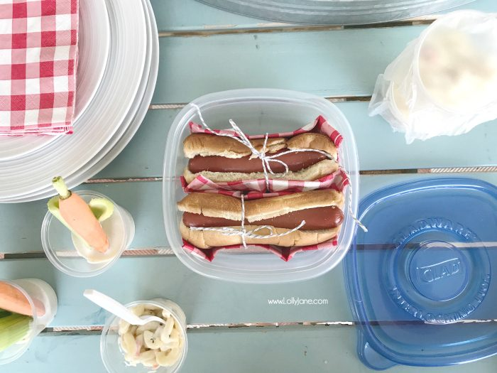 Easy Barbecue Tips + Tricks... use Glad tupperware to quickly store leftovers.... no lid or separate tupperware required! Click to see more hacks for this nearly utensil-free BBQ!
