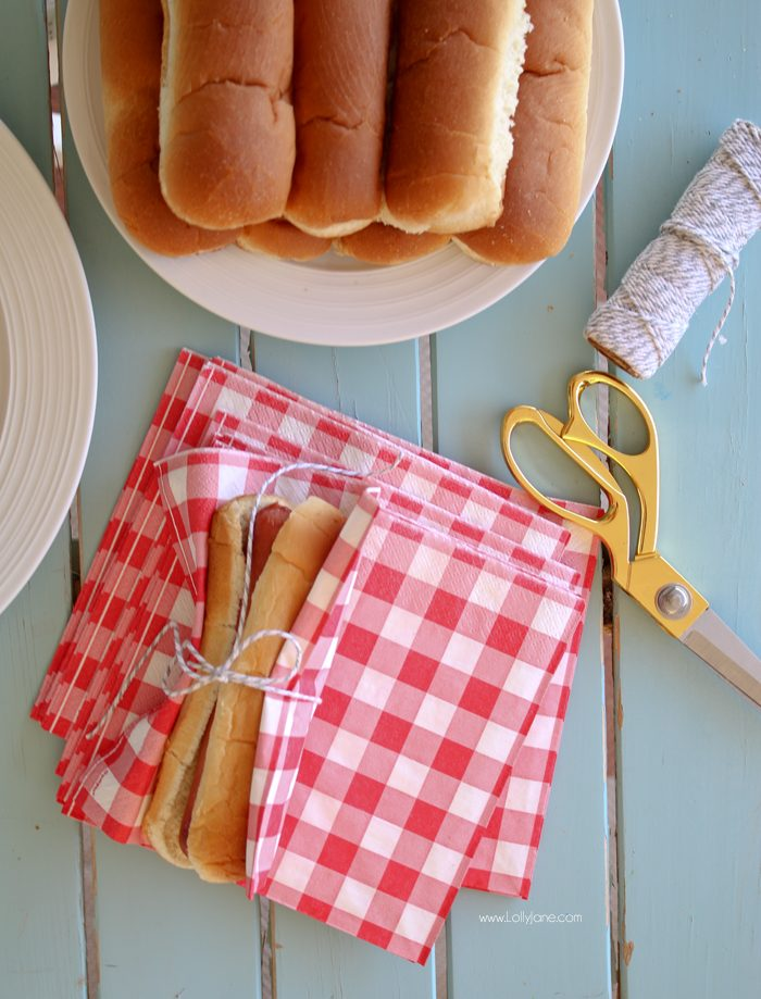 Easy BBQ or Party Hack: Wrap hot dog in bun and tie napkin around for easy grabbing! No plate required!