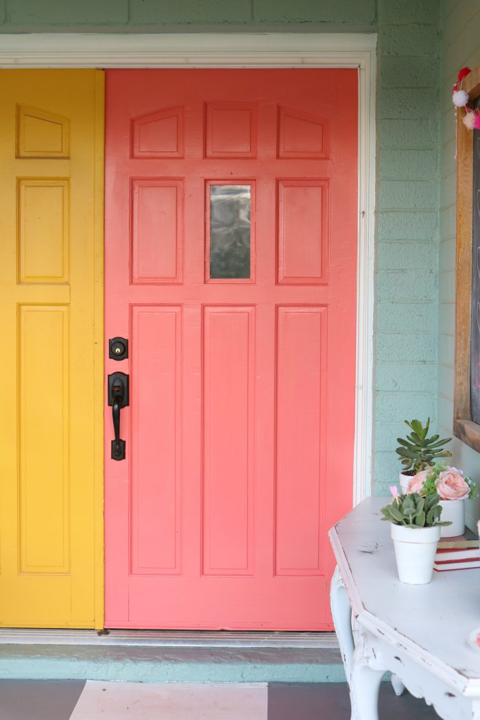 Cheery coral painted front doors diy lolly jane Curb appeal doors