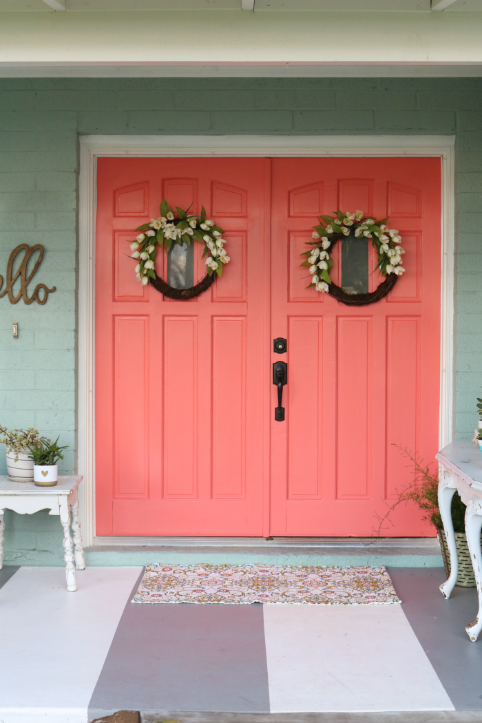 Coral Door Painted Porch