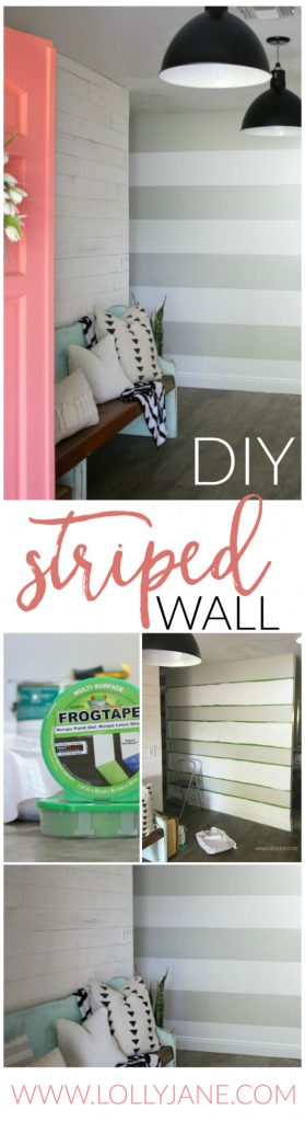 Y Striped Accent Wall | I love this gray and white striped wall, such an easy tutorial on how to stripe walls with straight lines and no bleeding or touch ups! Adore this gray white home decor, such a cute accent wall!