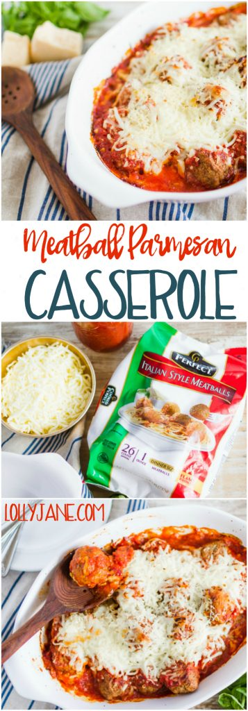 Holy EASY dinner idea with a hanful of ingredients! I love a good shortcut recipe! Such a yummy meatball parmesan casserole dish!