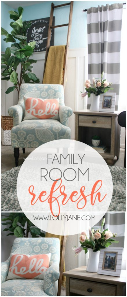 ips to freshen up your family room! Love this colorful farmhouse family room! Shop affordable home decor and trendy goods from BHG's Live Better line. Cute family room refresh!