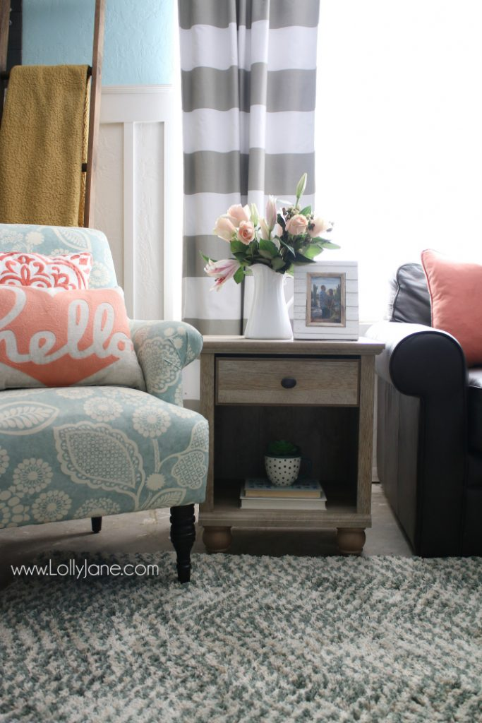 Tips to freshen up your family room! Love this colorful farmhouse family room! Shop affordable home decor and trendy goods from BHG's Live Better line. Cute family room refresh!