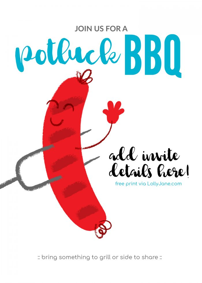 Free Potluck Barbecue Invitation.... download, add text (we love PicMonkey.com which is free!) then print! Happy BBQ'ing! (: