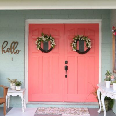 Cheery coral painted front doors | DIY