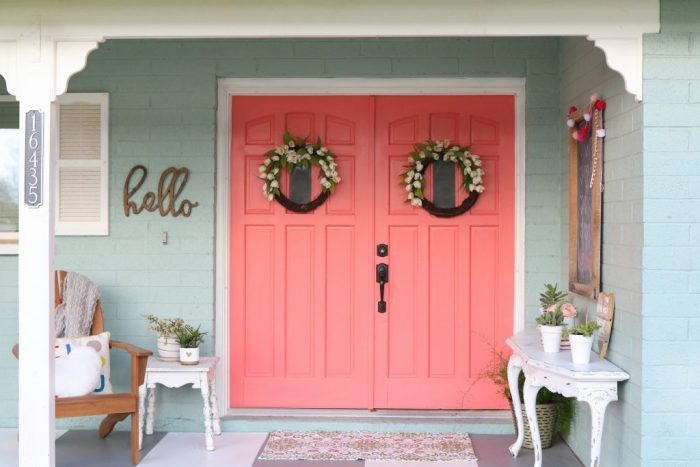 Cheery coral painted front doors | DIY - Lolly Jane