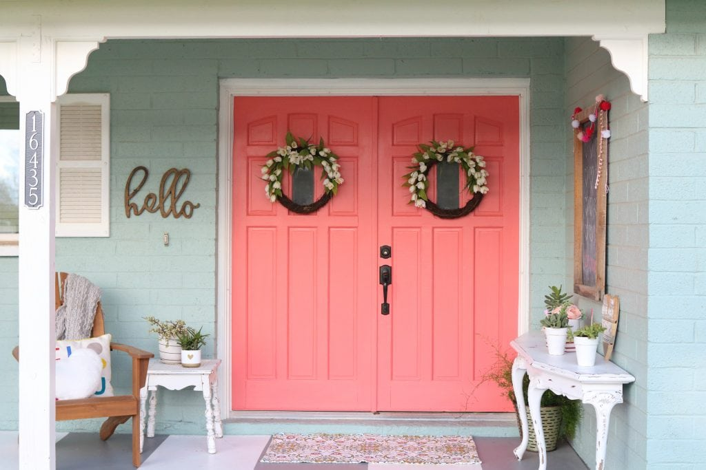 Delicieux Cheery Coral Painted Front Doors | DIY