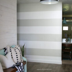 striped accent wall   DIY