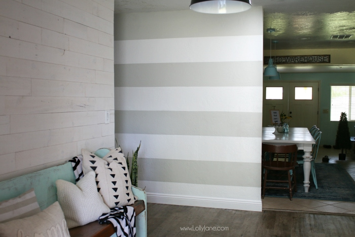 Diy Striped Accent Wall With Gray Amp White Stripes