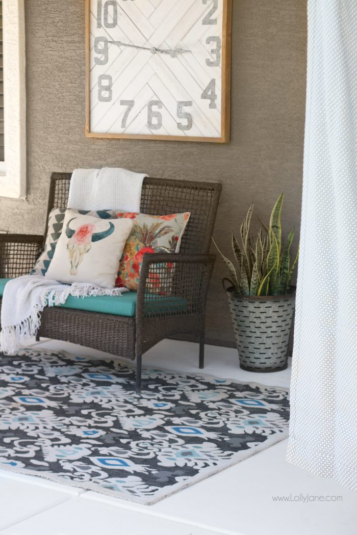 Easy porch makeover... love the white concrete paint tutorial! So fresh and bright (: