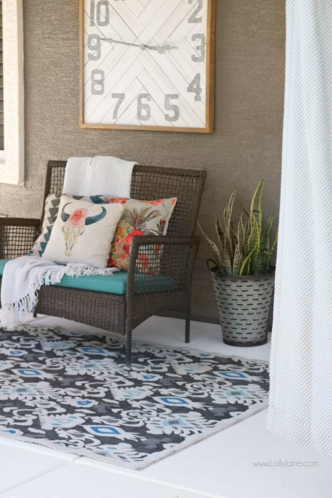 Easy porch makeover... love the white concrete paint tutorial! So fresh and bright (: - painted concrete patio tutorial