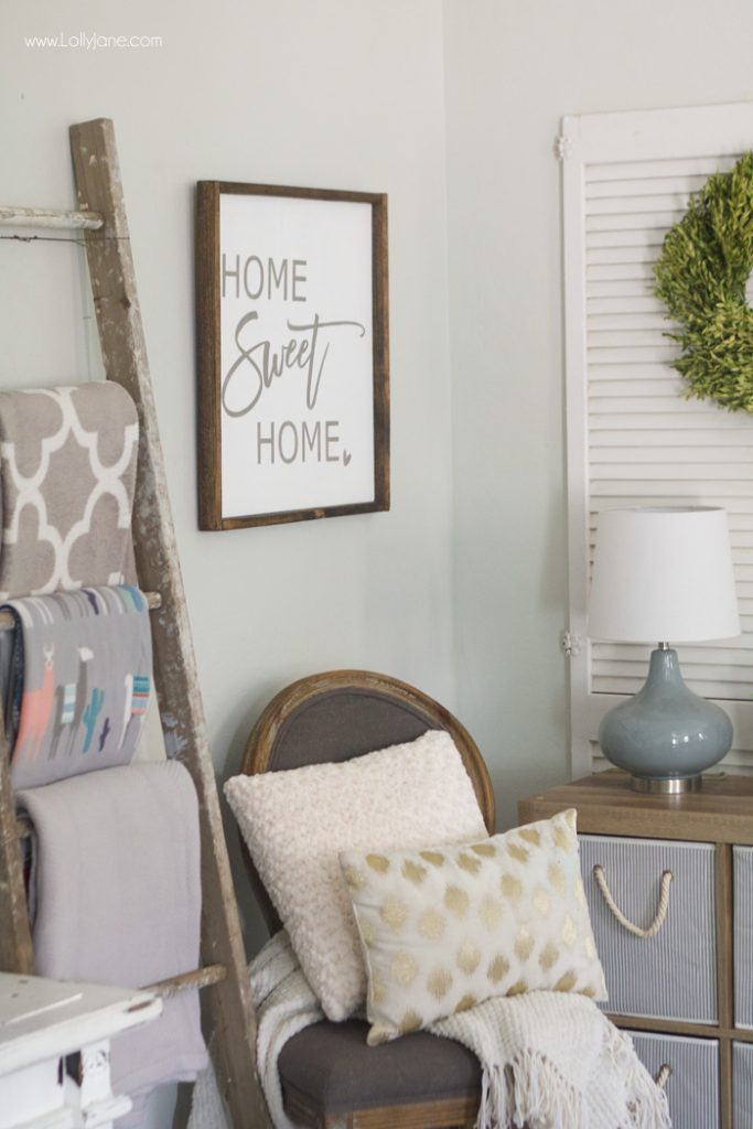 "Love this refreshed space, no more clutter! That ""Home Sweet Home"" sign completes the look- click to see the before & after :)"