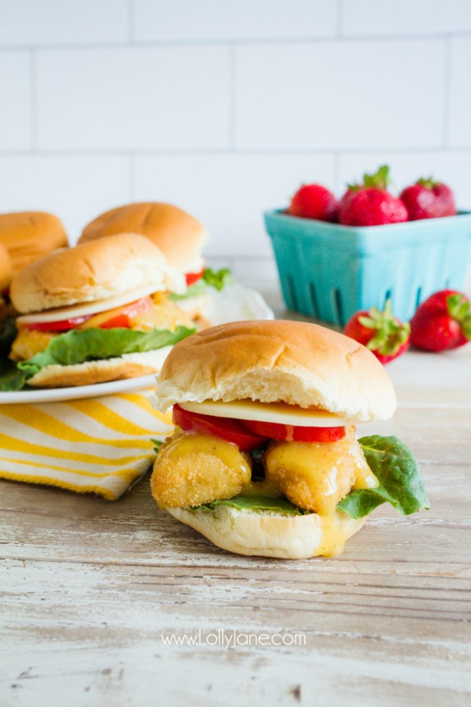 Have you had a honey mustard fish slider? These fish tenders are so good, love the honey mustard sauce!