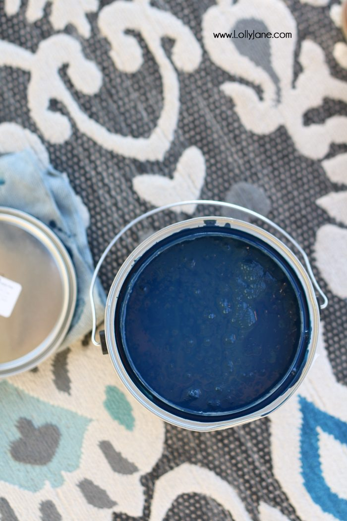 "Pretty Modern Farmhouse Table... click to see the ""after"", can't believe this isn't paint! Love this navy blue stain!Pretty Modern Farmhouse Table... click to see the ""after"", can't believe this isn't paint! Love this navy blue wood stain!"