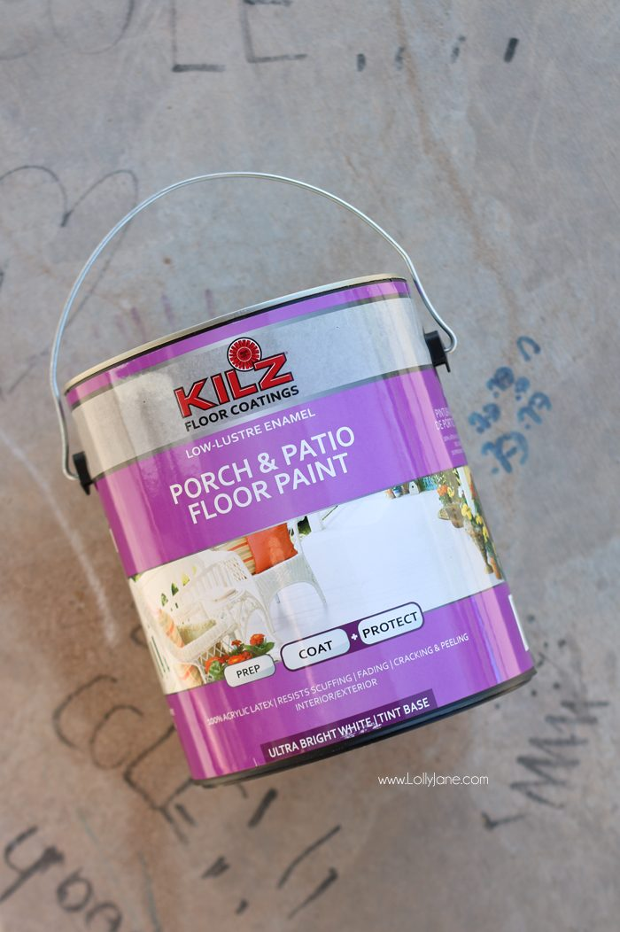 "Click to see the cute ""after"" of this porch makeover... love the white concrete paint tutorial! So fresh and bright (:"