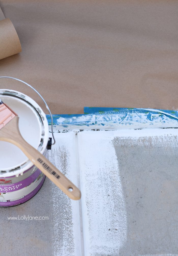 """Click to see the cute """"after"""" of this porch makeover... love the white concrete paint tutorial! So fresh and bright (:"""