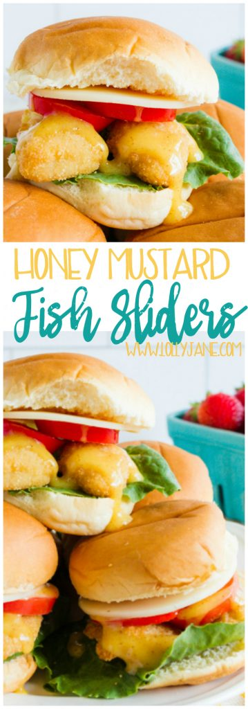 Holy canoli! These fish sliders are so yummy with the honey mustard sauce BUT the best part!? SO EASY to make! A great fast dinner recipe!