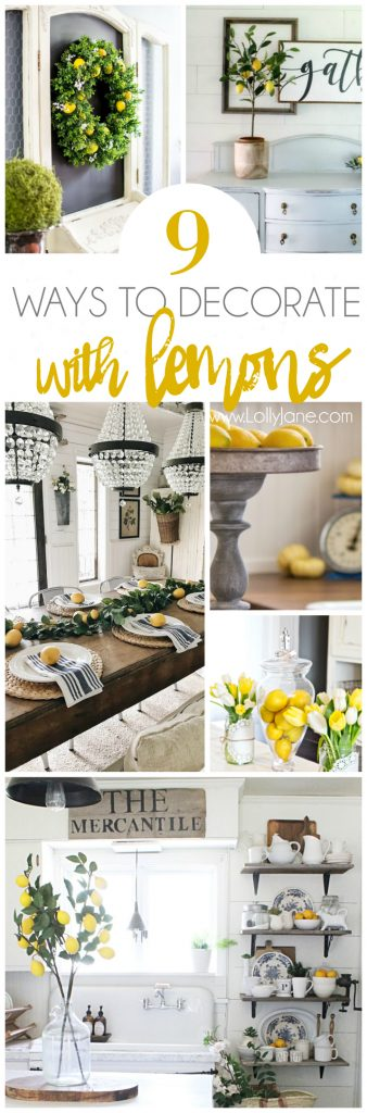 How to decorate with lemons! Love all the bright fresh yellow decor ideas! Such cute lemon home decor ideas, love decorating with lemons!