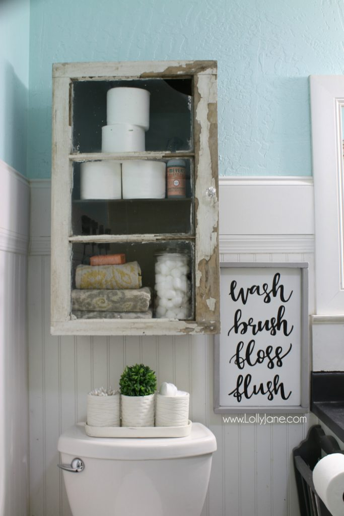 Rustic bathroom makeover! Love this diy cabinet install, so easy and super creative!