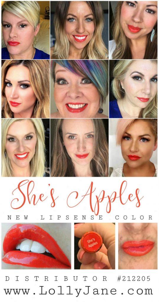 Loving this new limited edition color: She's Apple LipSense lipcolor! Such a pretty coral lipcolor! Love this bright lipcolor, so fun! Distributor #212205 | @lollysense