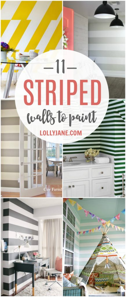DIY Roundup | 11 striped walls to paint now! Such cute striped wall accents, ceilings too! Love how paint and tape can transform a room! Pretty stripe wall home decor ideas!
