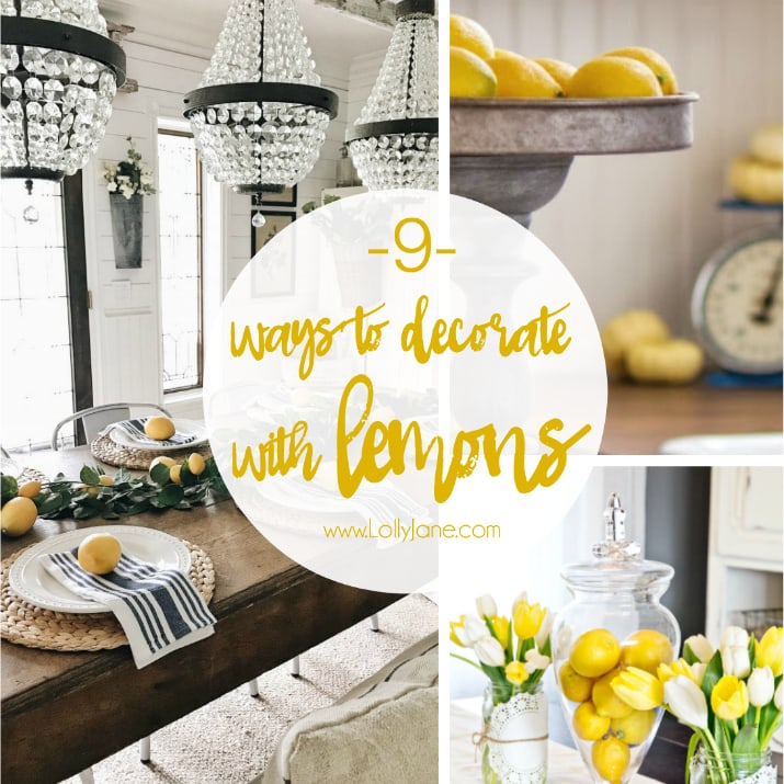9 ways to decorate with lemons. Loving the lemon decor trend, easy ways to decorat with lemons naturally!