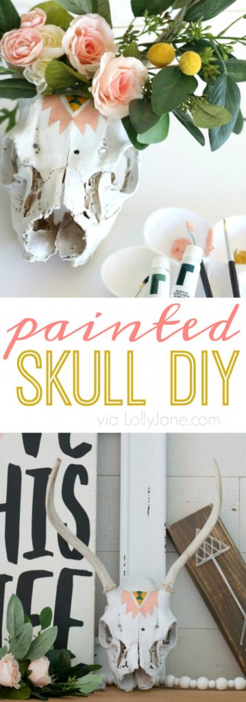 Spruce up a real or faux skull in no time with a little bit of paint + this easy tutorial! Cute!