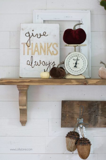 """Love this """"Give Thanks Always"""" sign mixed in with these pretty fall accessories! Click to see how to style a fall mantel in no time!"""