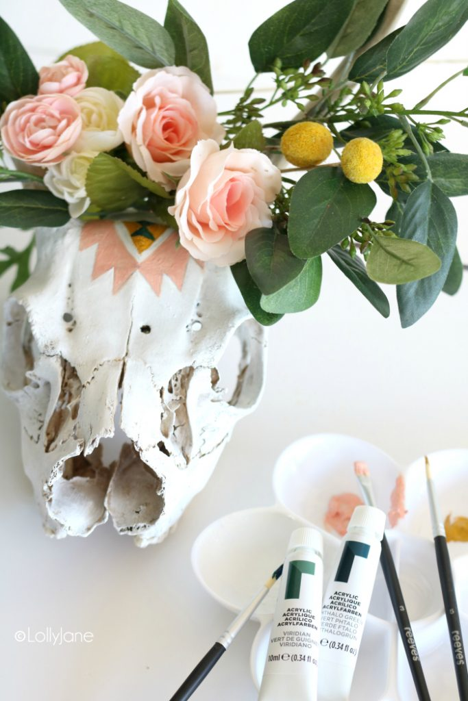 Easy painted skull DIY using just Reeves acrylic paint!
