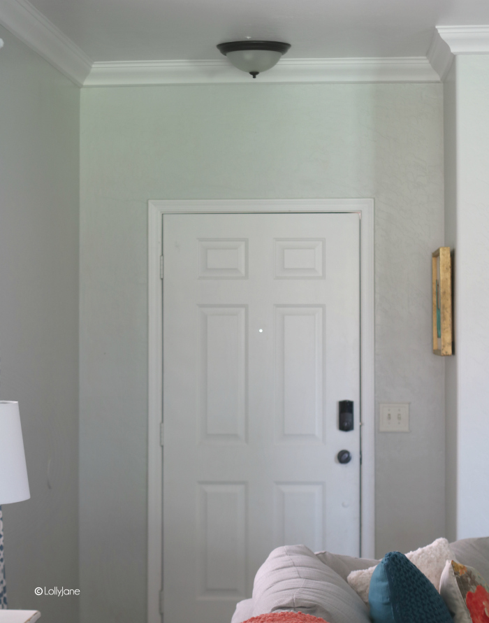 "Love this entryway makeover... removed the ""boobie"" light, painted the door, and more!"