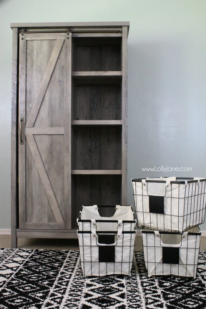 Adore these Better Homes and Gardens wire baskets. The chalkboard tags are so cute! Perfect for laundry room storage!
