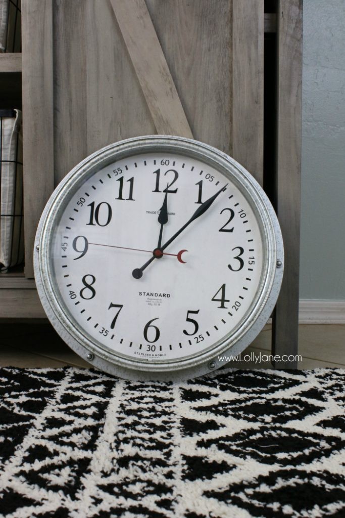 Adore this farmhouse industrial clock from BHG! Such a cute modern farmhouse clock, perfect for this farmhouse laundry room makeover!