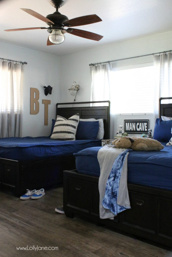 Epic Love this clean shared boys bedroom decor idea vintage industrial fan wall sconces turned