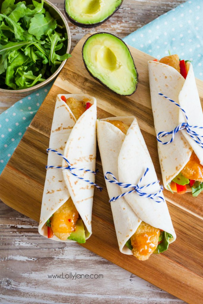 Super easy dinner idea: fish wraps! These sweet chili fish wraps are fun to make and are a great dinner idea when you're in a hurry!