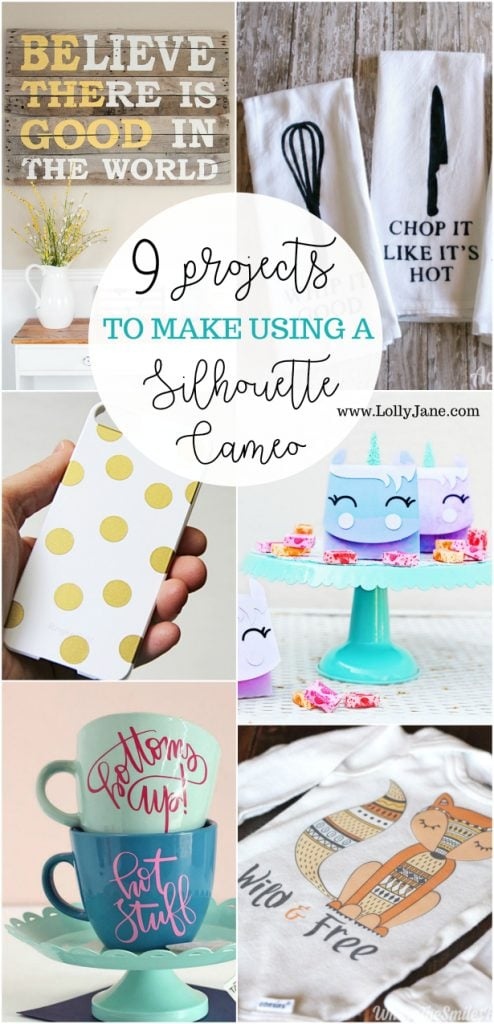 9 projects to make using a Silhouette Cameo! Love all these fun craft ideas and home decor ideas to make yourself!