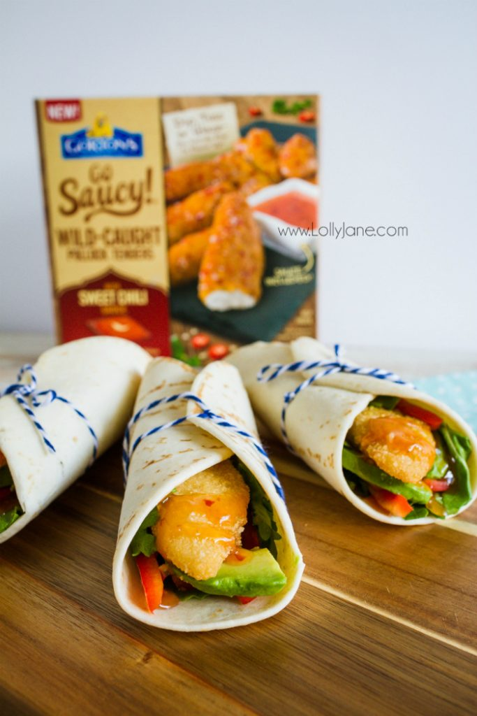 These Gorton's Go Saucy dinners are the perfect fast dinner idea! Just add these yummy fish tenders into a wrap and stuff with your favorite veggies! The sweet chili sauce is super yummy, a kids favorite dinner idea!