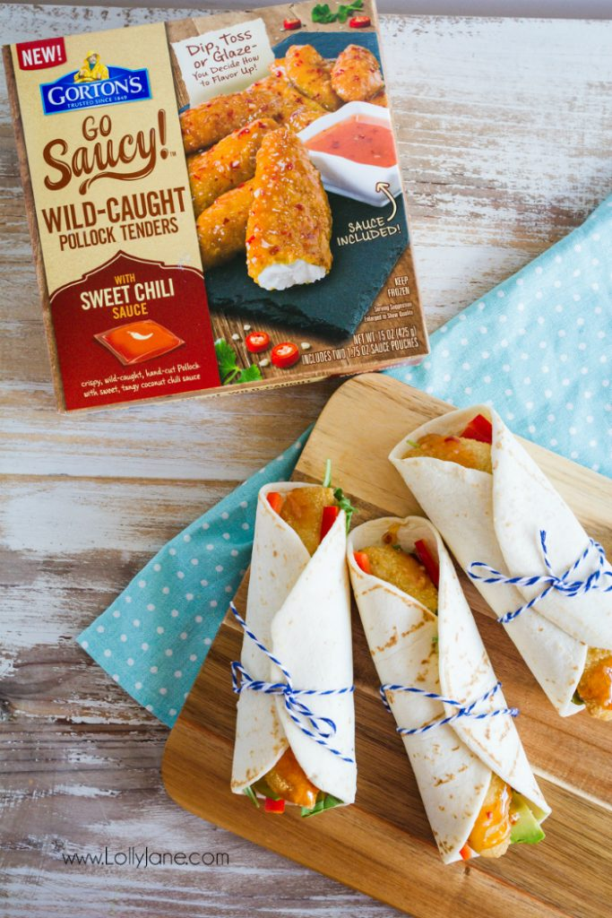 These fish wraps are so yummy with this sweet chili sauce! The perfect family friendly dinner idea! Kids favorite dinner is stuffing these fish wraps with their fav veggies. Yummy easy dinner!