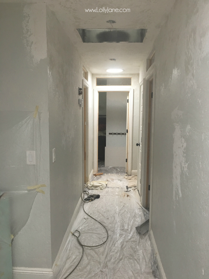 Drywalling and texturing this old farmhouse hallway. The after is stunning!!