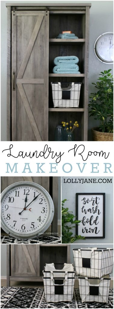 This laundry room makeover is a must see! Check out the before pictures, wow! Such a pretty farmhouse laundry room makeover!