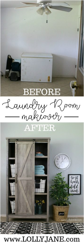 WOW! Check out this laundry room before and after!! Such a great laundry room makeover! Love the farmhouse laundry room decor!