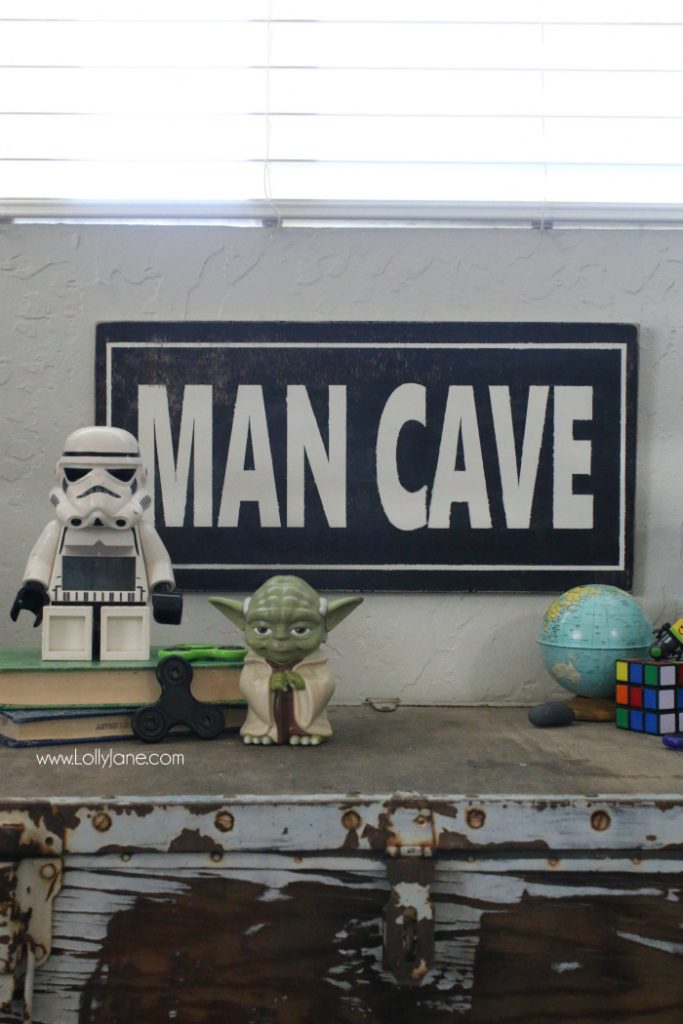 Love this Man Cave wood sign! Such a cute boys shared bedroom sign. Cute rustic wood sign for a boys bedroom! Love this man cave boys bedroom sign!