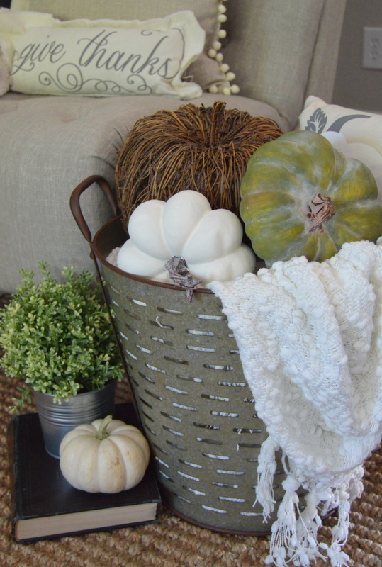 9 different ways to to decorate for fall using olive for How to decorate a bucket
