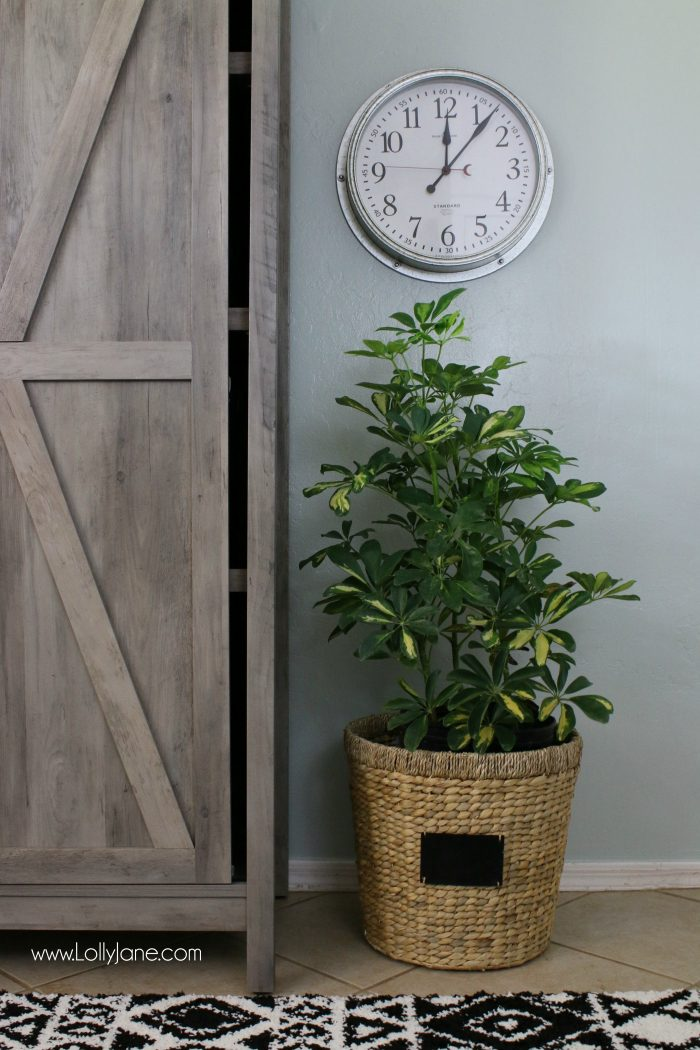 How to accessorize a laundry room. Love this farmhouse decor with plants in basket and a modern farmhouse clock.