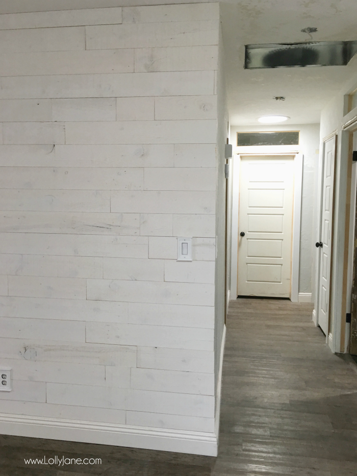 LOVING our Stikwood Hamptons shiplap! This peel and stick shiplap was a breeze to install. Also adore our remodel on adding height to our ceilings!