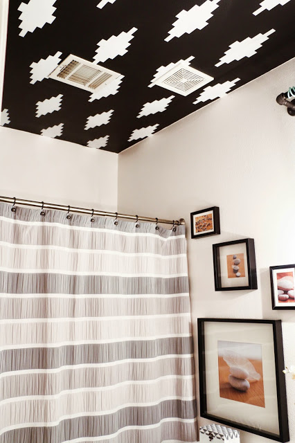 How to Create a Ceiling Stencil using a Silhouette Cameo. Such a creative way to use vinyl! Love this stenciled pattern ceiling.