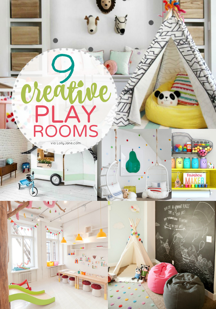 Click to see 9 of the cutest and most creatively FUN play room ideas!